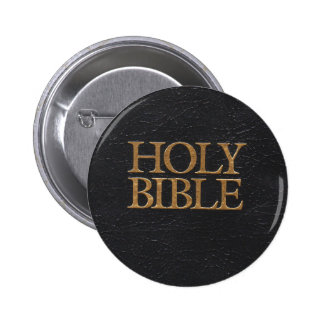 Black Leather Holy Bible Cover 6 Cm Round Badge