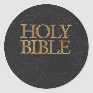 Black Leather Holy Bible Cover Classic Round Sticker