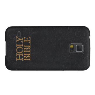 Black Leather Holy Bible Cover Galaxy S5 Covers