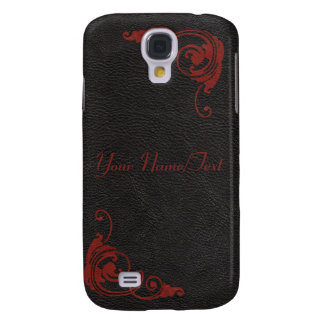 Black Leather Image & Red Scrolls iPhone 3 Case