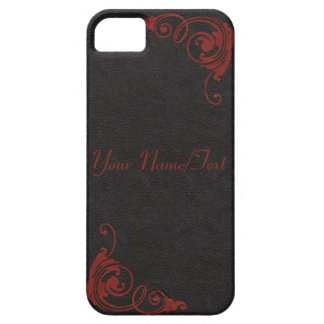Black Leather Image with Tooled Scrolls in Red iPhone 5 Cases