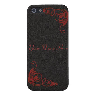 Black Leather Image with Tooled Scrolls in Red iPhone 5 Covers