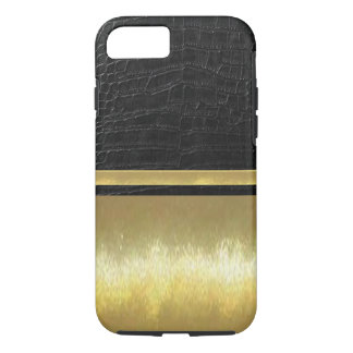 Black Leather iPhone 7 Slim Shell Gold Design Case