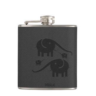 Black Leather Look Elephant Illustration Hip Flask