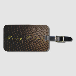 Black Leather Look Textured Luggage Tag