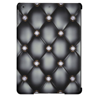 Black Leather Look White Diamonds Cover For iPad Air