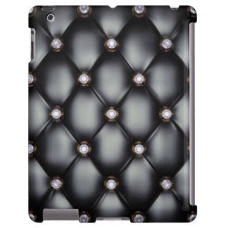 Black Leather Look White Diamonds iPad Case