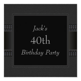 Black Leather Mans 40th Birthday Party 13 Cm X 13 Cm Square Invitation Card
