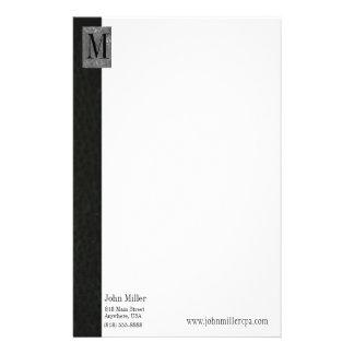 Black Leather Monogram Business Letterhead Personalised Stationery