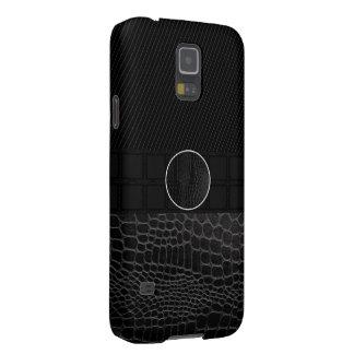 Black Leather Monogram Galaxy S5 Cases