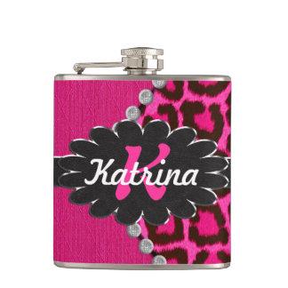 Black Leather Monogram on Pink Cheetah Hip Flask