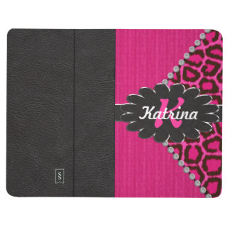Black Leather Monogram on Pink Cheetah Journal