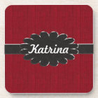 Black Leather Monogram on Red Material Background Coaster