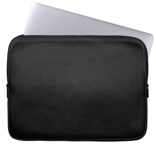 Black Leather Neoprene Laptop Sleeve