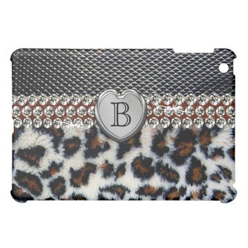 Black Leather On Leopard Fur iPad Case