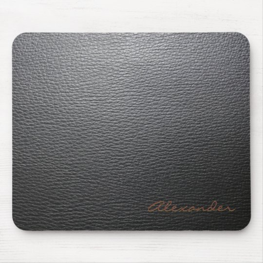 Black Leather Pattern- Custom Monogram Mouse Mat