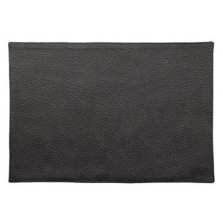 Black Leather Print Texture Pattern Placemat