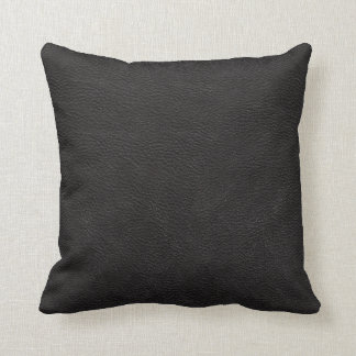 Black Leather Print Texture Pattern Throw Pillow