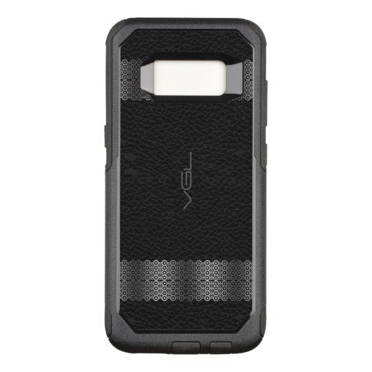 Black Leather Silver & Stripe Border 2 OtterBox