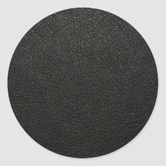 Black Leather Texture Background Round Sticker