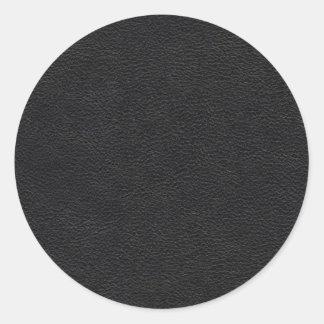 Black Leather Texture Classic Round Sticker