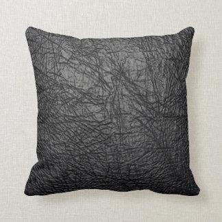 black leather texture pillow