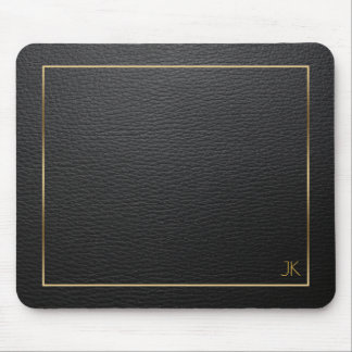 Black Leather Texture With Gold Frame Mouse Mat