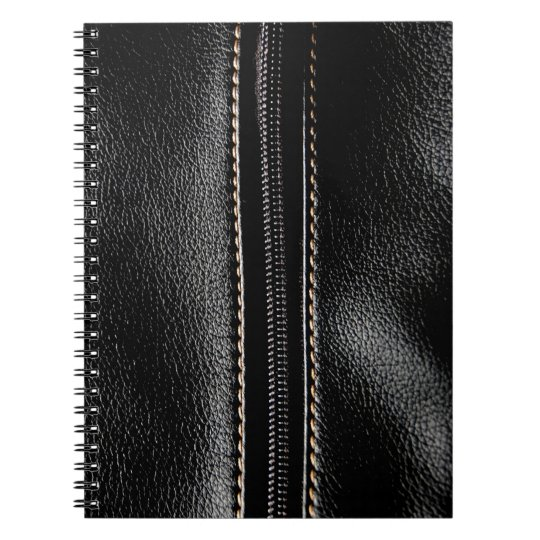 Black Leather with Zipper Spiral Notebook