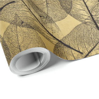 Black Leaves on Gold - Wrapping Paper