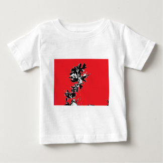 Black Leaves on Red Background Baby T-Shirt