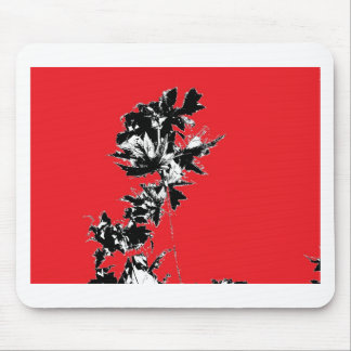 Black Leaves on Red Background Mouse Pad