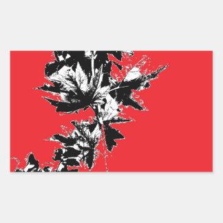 Black Leaves on Red Background Rectangular Sticker