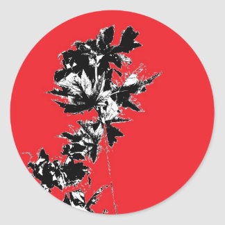 Black Leaves on Red Background Round Sticker
