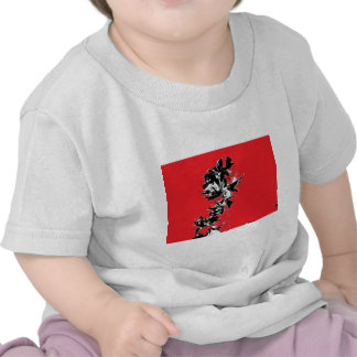 Black Leaves on Red Background Tshirts