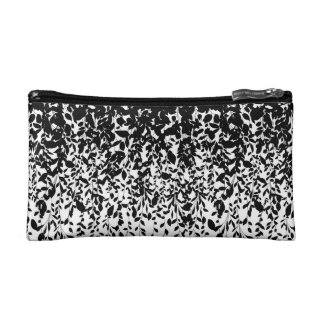 Black leaves on white background makeup bags