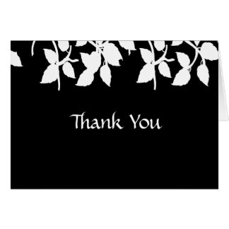 Black Leaves Thank You Note Card