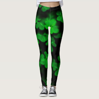 Black leggings with green Clover