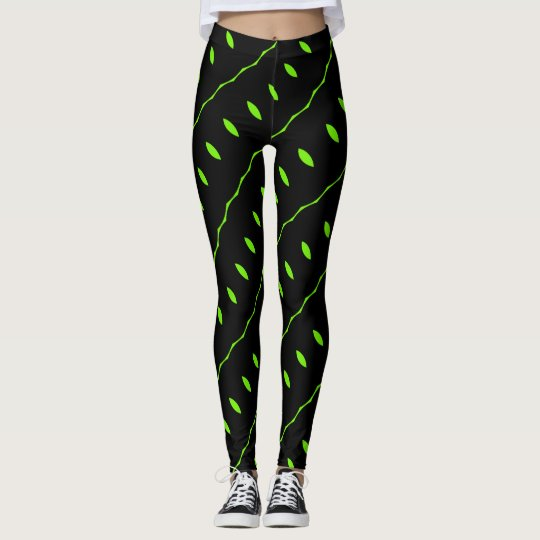 Black Leggings with Lime Green Leaves and Vines