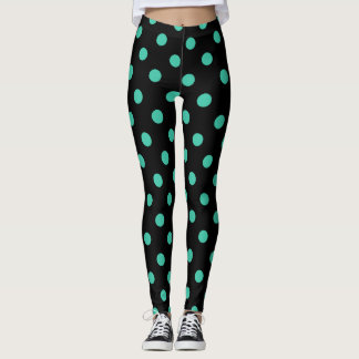 Black Leggings with Teal Polka Dots