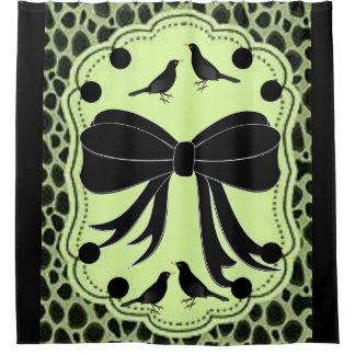 black leopard bird showercurtain shower curtain