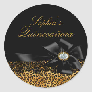 Black Leopard & Bow Quinceanera Sticker