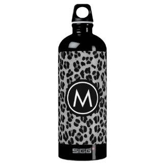 Black Leopard Print Monogram SIGG Water Bottle
