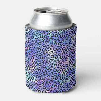 Black Leopard Print on Blue Watercolor Background Can Cooler