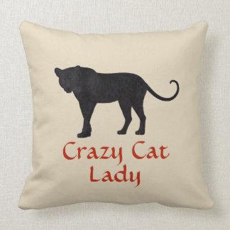 Black Leopard | Red Typography | Crazy Cat Lady Cushion
