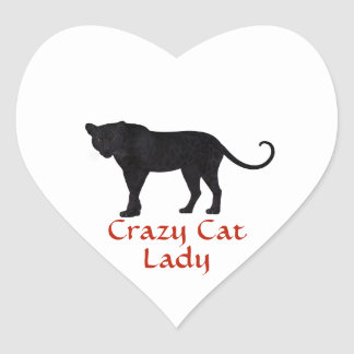 Black Leopard | Red Typography | Crazy Cat Lady Heart Sticker