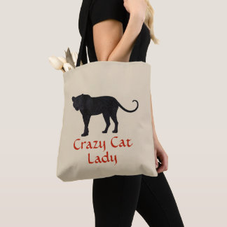 Black Leopard | Red Typography | Crazy Cat Lady Tote Bag