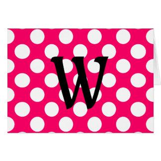 Black Letter Monogram on Polka Dots Card