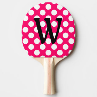 Black Letter Monogram on Polka Dots Ping Pong Paddle