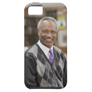 Black librarian in school library iPhone 5 cover