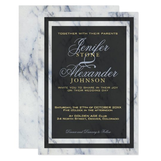 Black light blue and white elegant marble wedding